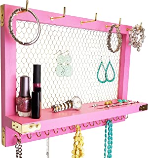 Large Pink Wall Mounted Hanging Jewelry Organizer, Perfect Holder for Earrings Necklaces Bracelets-Gold Chicken Wire, Present for Girl, Daughter, Tween, Girlfriend