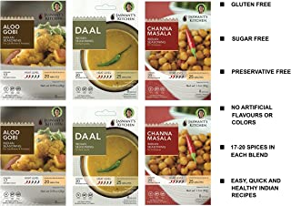 Jaswant's Kitchen Indian Spice Blends with Recipes - 6 Pack Vegan (Aloo Gobi/Daal/Channa Masala)