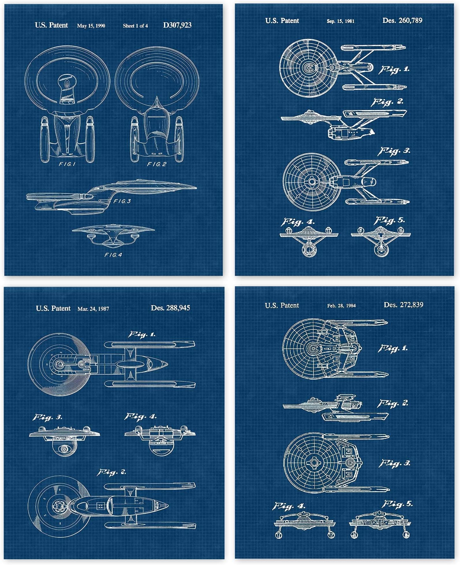Vintage Star Trek Patent Poster Prints Garage Office Set of 4 Comic-Con /& Movies Fan 8x10 Shop College Student Unframed Photos Wall Art Decor Gifts Under 20 for Home Teacher Man Cave