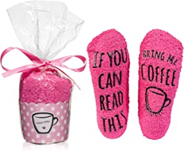 """""""Bring Me Coffee"""" Socks In Cupcake Packaging - Perfect Stocking Stuffer or Gift Idea for Women"""