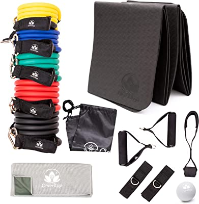 Resistance Bands Workout Set - 5 Items 5 Different Weighted Exercise Bands with Handles, Ankle Straps and Door Anchor, Folding Mat, Massage Ball, Cooling Towel and Bag - Home Workouts for Men Women