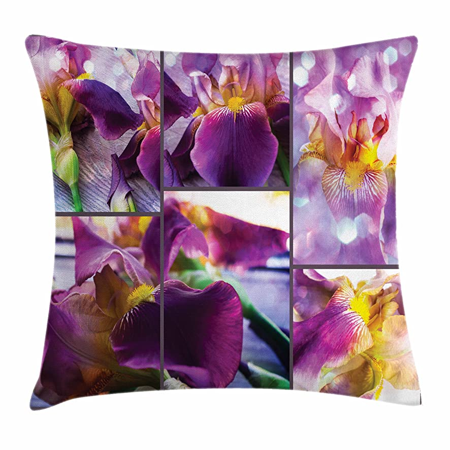 Ambesonne Rustic Throw Pillow Cushion Cover, Blooming Iris Flowers Orchids on Rustic Wood Natural Floral Beauty Romantic Image, Decorative Square Accent Pillow Case, 28 X 28 Inches, Yellow Purple