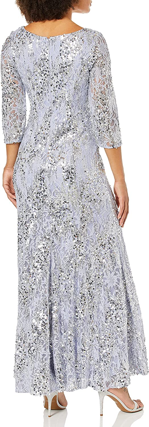 Alex Evenings womens Long Sequin Dresses With ¾ Sleeves