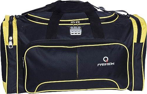 Waterproof Polyester Lightweight Black Yellow Duffle Soft Sided 60L Travel Duffel Bag