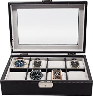 Elegant 8 Piece XL Oversized Large Black Leatherette Watch Display Case and Storage Organizer Box