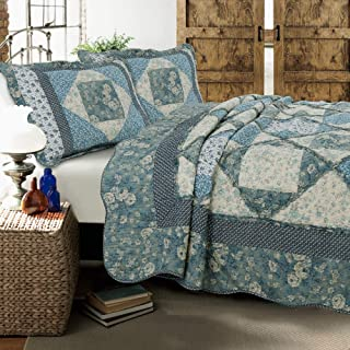 Cozy Line Home Fashions Dianna Blue Rose Floral Vintage Cottage Real Patchwork Quilt Bedding Set, 100% Cotton Reversible Coverlet Bedspread for Women(Blue Roses, Queen - 3 Piece)