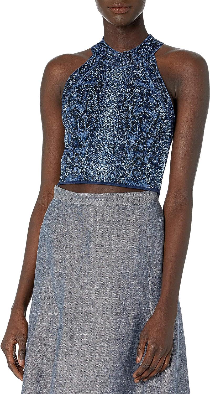 Blue BCBGMAXAZRIA Womens Lace Top M