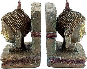Bellaa 22298 Buddha Head Decorative Bookends 8 inch