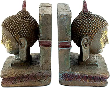 Bellaa 22298 Buddha Head Decorative Bookends 8 inch