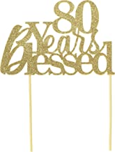 All About Details Gold 80-Years-Blessed Cake Topper