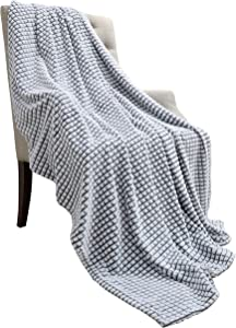 YINSIO Fuzzy Flannel Fleece Throw Blanket, Super Soft Cozy Microfiber Grid Couch Blankets for All Season White-Grey