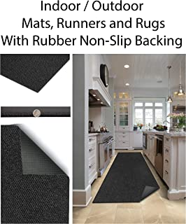 Custom Sized Durable Rubber Door Mats, Runners, and Rugs. Heavy Duty Doormat, Indoor Outdoor, Easy Clean, for Entry, Garage, Patio, Foyers, Laundry, Kitchen High Traffic Areas (Color: Charcoal)