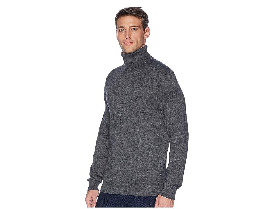 Nautica 12GG Turtleneck Sweater (Charcoal Heather) Men
