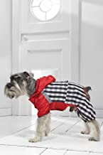 Small Dog Plaid Raincoat for Mini Schnauzer Jack Russell Boston Terrier Frenchie (Small Size, red, White, Black, Gray)