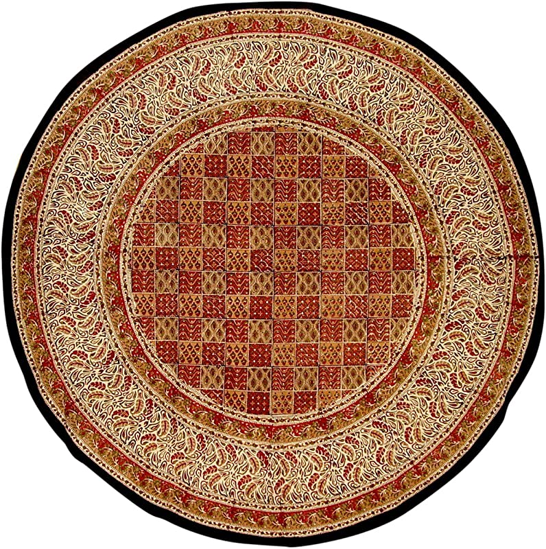 Full Moon Loom Kalamkari Block Print Round Cotton Tablecloth 72 Multi Color