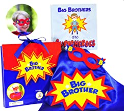 Tickle & Main - Big Brother Gift Set - 3 Piece Set Includes Big Brothers are Superheroes Book, Satin Cape, and Mask.