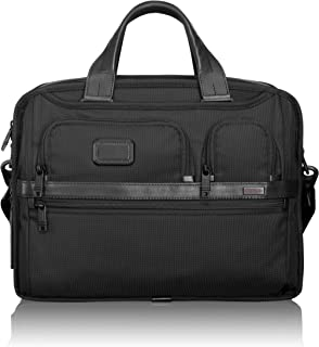 Alpha 2 Expandable Organizer Laptop Brief Briefcase - 15 Inch Computer Bag for Men and Women - Black
