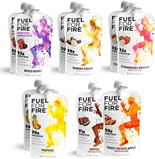 Fuel For Fire - Variety Pack with All 6 Flavors (10 Pack) Including New Mixed Berry! Fruit & Protein Smoothie Squeeze Pouc...