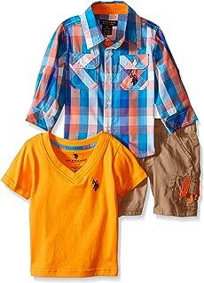 U.S. Polo Assn. Baby Boys' Sport Shirt, V-Neck T-Shirt, and Twill Cargo Short Set