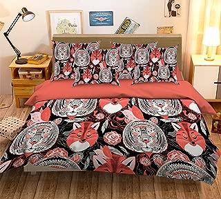 3D Funny Fox and Tiger Face Graffiti Background 33 Bedding Pillowcases Quilt Duvet Cover Set Single Queen King | 3D Photo Bedding, AJ WALLPAPER US Summer (Queen)