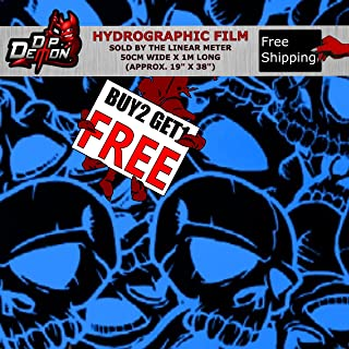 Lm Blue Outline Skulls Hydrographic Water Transfer Film Hydro Dipping Dip Demon