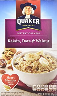 Quaker Instant Oatmeal Raisin, Date & Walnut, 10-count Boxes (Pack of 2)