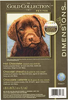 Dimensions 'Hot Chocolate' Counted Cross Stitch Kit Chocolate Labrador Portrait, 18 Count Ivory Aida Cloth, 6'' x 6''