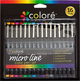 Colore Precision Ultra Fine Tip Micro Line Pens âWaterproof & Vibrant Color Inking Pen Set with Variety Nib Sizes (16 Pack)