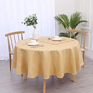 """Randall Round Tablecloth Waffle Stripe Spillproof Dust-Proof and Stain Resistant Table Cover for Kitchen Dinning Party Tabletop Decoration (70""""×70"""", Wheat Gold)"""