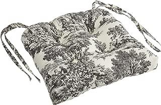 Ellis Curtain Victoria Park Toile Cushioned Chair Pad, Black