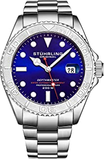 Mens Swiss Automatic Stainless Steel Professional DEPTHMASTER Dive Watch, 200 Meters Water Resistant, Brushed and Polished Bracelet with Divers Safety Clasp and Screw Down Crown