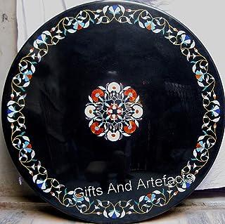 Gifts And Artefacts Sofá de mármol negro Pietra Dura Art con piedras preciosas se puede utilizar como mesa de comedor de p...