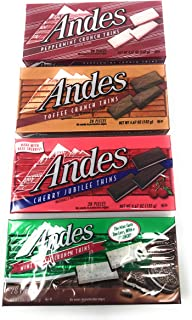 Andes Candies Chocolate Variety Pack of 4 Flavors: Peppermint Crunch, Toffee Crunch, Cherry Jubilee, Mint Cookie Crunch (4...