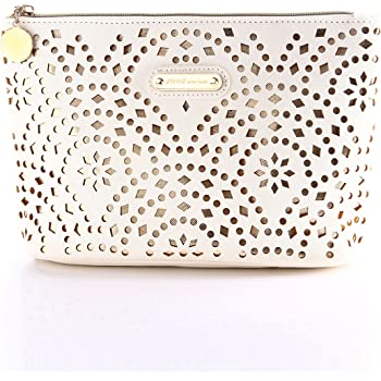 Makeup Bag, Wuhua Gold Pattern Cosmetic Bag with Zipper, Toiletry/Travel Bag for Brushes Jewelry Accessories Collection, Single Layer Storage Bag for Women