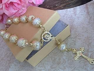 10 of Baptism Favors 14mm Crystal Pearls Ivory Color Gold Plated/Communion Favors Recuerditos De Bautismo/Christening Favors/Decenarios/Decades/Finger Rosaries