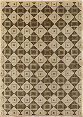 Surya Mugal IN-8008 Contemporary Hand Knotted 100% Semi-Worsted New Zealand Wool Sand Beige 8' x 11' Area Rug