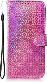 for Samsung Galaxy A50 Glitter Wallet Case with Wrist Strap,Bling Iridescent Design Magnetic Foldable Stand Premium Leather Phone Cases Shockproof Bumper Flip Cover and Screen Protector - Pink