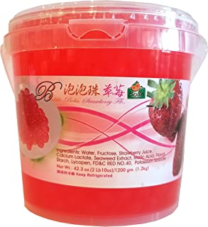 Bolle Popping Boba Pearls Bubble Tea, Ice Cream or Yogurt Topping 42.3 Oz. (Strawberry)