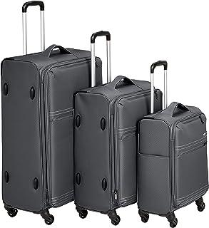 AmazonBasics 3 Piece Lightweight Softside Spinner Suitcase Luggage Set - Grey