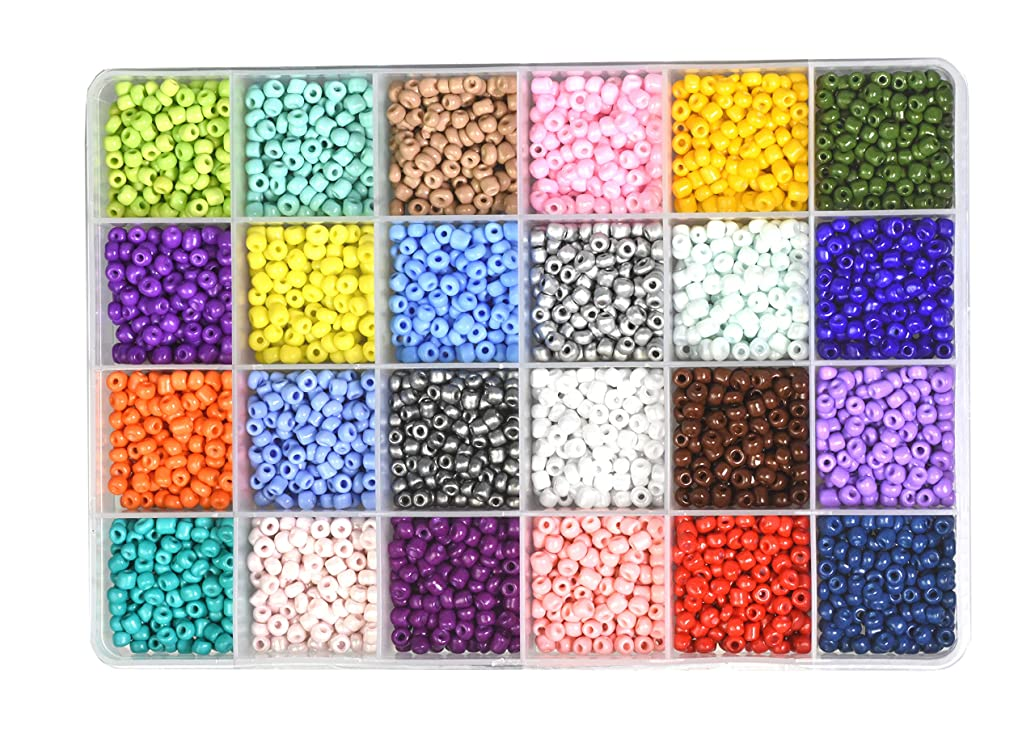 Mandala Crafts Glass Seed Beads, Small Pony Beads Assorted Kit with Organizer Box for Jewelry Making, Beading, Crafting (Round 4X3.4MM 6/0, 24 Assorted Multicolor Set Combo 2)