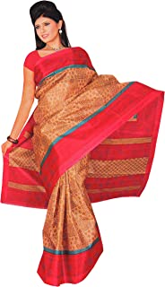 Paper Silk Pattern Saree Indian/Pakistani Traditional Bollywood Ethnic Red Border Sari 5 Yard