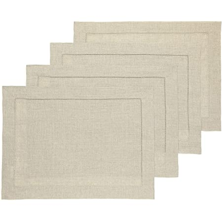 Amazon Com Mahogany Solid Color 100 Percent Cotton Ribbed Placemat 13 Inch By 19 Inch Ivory Set Of 4 Home Kitchen