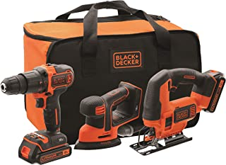 comprar comparacion BLACK+DECKER BCK31S1S-QW - Kit de taladro percutor, lijadora de detalles Mouse y sierra de calar 18V con 2 baterías de lit...