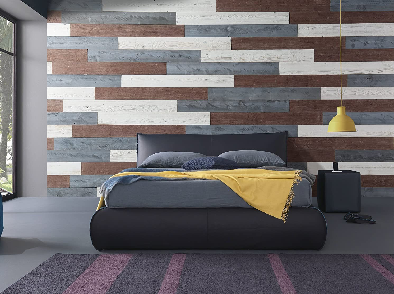 WoodyWalls Peel and Stick Wood Wall Panels, Three Color Combinations, 19.5 sq. ft. per Box, White, Natural Gray, Old Brown