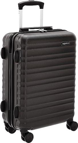 Amazon Basics Bagage à roulettes rigide- 55 cm Taille cabine, Noir Approuvé pour Ryanair et la plupart des compagnies...