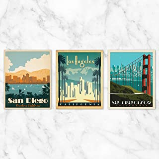 California Travel Poster Wall Art - Set of 3-8x10 Prints on Linen Paper by Anderson Design Group