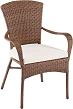 Panama Jack PJO-7001-ATQ-AC Key Biscayne Stackable Woven Armchair with Cushion, Light Beige