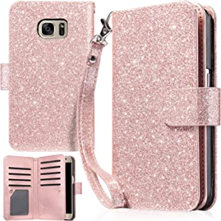 UrbanDrama Case for Galaxy S7, S7 Wallet Case Sparkly Glitter Hand Wristlet Magnetic Snap Closure Folio PU Leather Kickstand Magnetic Cash Card Slot Protective Case for Samsung Galaxy S7, Rose Gold