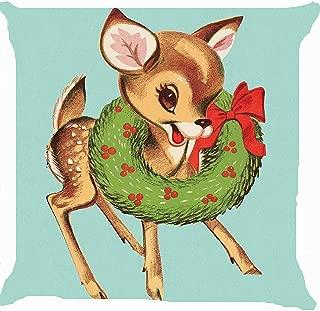 Leaveland Retro Vintage Baby Santa Claus Reindeer Flower Wreath Cute Pillow Cover 18 x 18 Inches
