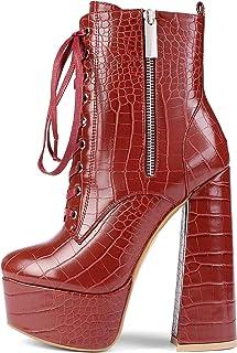 Stivali Quadrati Robusti da Donna con Tacco Alto - Scarpe col Tacco con Plateau - Classiche Stivaletti Donna Inverno - Sti...